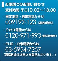 お電話でのお問い合わせ 受付時間 平日10:00~18:00 固定電話・携帯電話からは009192-123(通話料無料)ひかり電話からは0120-971-993(通話料無料)PHS・公衆電話からは03-5954-7257(通話料金はいずれもお客さま負担となりますのでご注意ください。 )